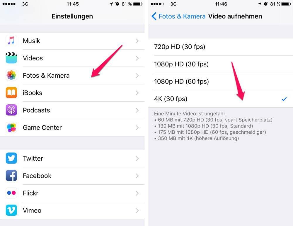 4k Videos aufnehmen