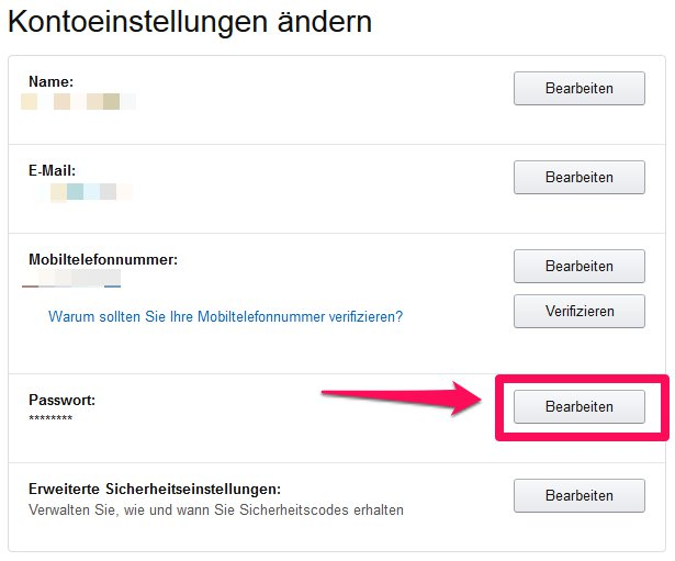 Amazon Passwort einstellungen