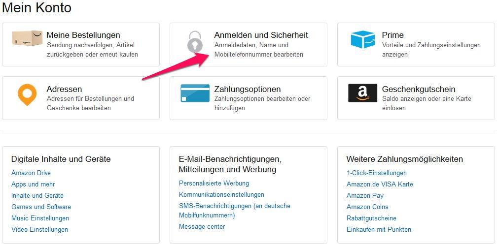 Amazon Sicherheitseinstellungen