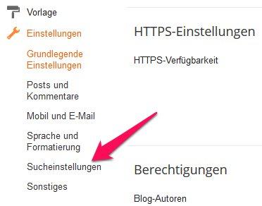 Blogger Sucheinstellungen