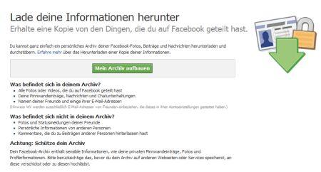 Facebook Archiv aufbauen
