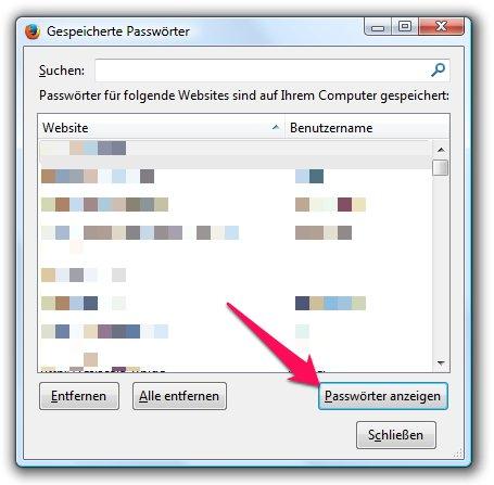 Firefox Passwörter anzeigen