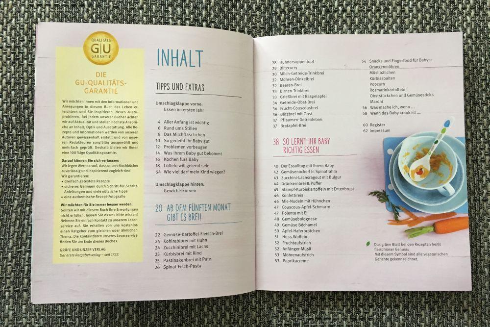 Kochbuch für Babys Inhaltsverzeichnis