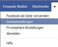 Facebook Kontoeinstellung öffnen