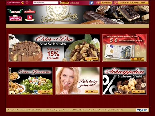 Onlineshop der Firma Lambertz im Internet